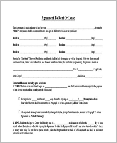 Trailer Rental Agreement Template Free Lease Agreement Forms 501 - free rental agreement template
