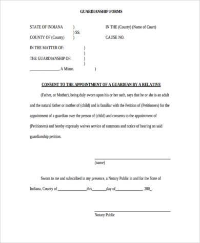 Guardianship Form guardianship forms - 9+ free pdf, word free - temporary guardianship form