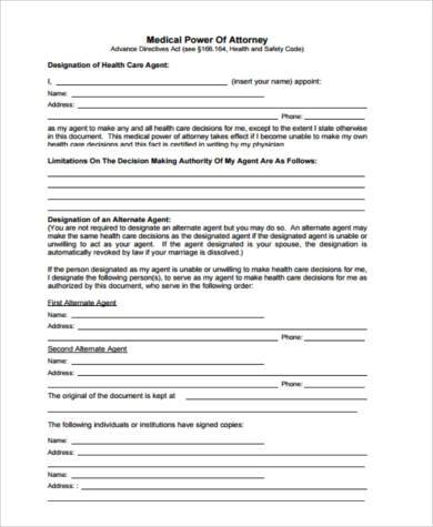 Medical Power of Attorney Form Samples - 8+ Free Documents in PDF - sample medical power of attorney form