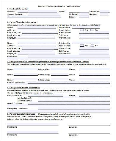 Sample Parent Contact Forms - 9+ Free Documents in Word, PDF - sample contact sheet