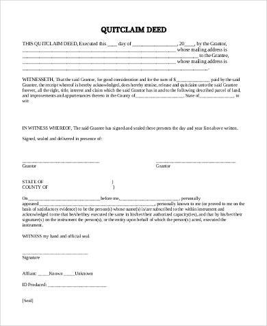 Quit Claim Deed Sample - 7+ Free Documents in Word, PDF