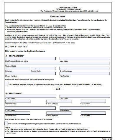 Rental Lease Agreement Sample Forms - 9+ Free Documents in Word, PDF - Free Lease Agreement Template