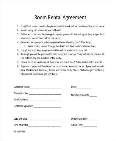 Room Rental Agreement Printable Sample Simple Room Rental - room rental agreements