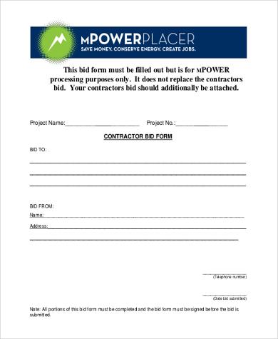 general contractor bid form - Josemulinohouse
