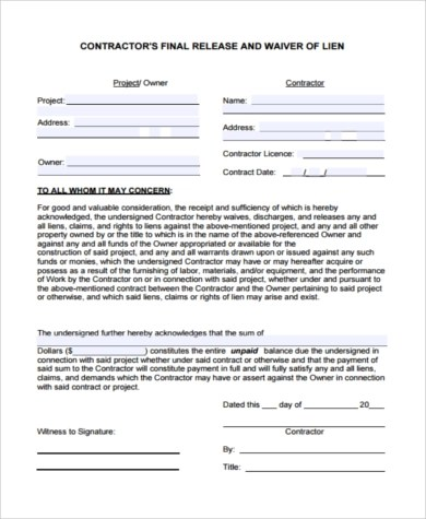 General Release of Liability Form - 6+ Free Documents in Word, PDF - liability contract template