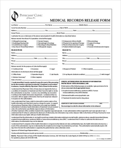 sample medical records release form - Onwebioinnovate