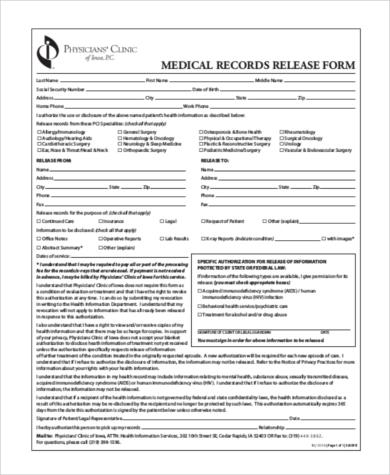 general medical records release form sample - Militarybralicious - medical records release form