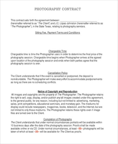 Photography Sample Contracts - 9+ Free Documents in PDF - photography contracts