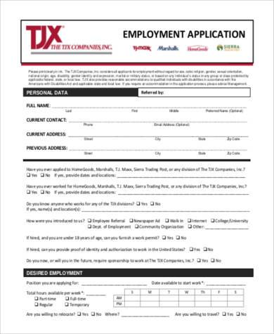 8+ General Employment Application Samples - Free Documents in PDF - Printable Employment Application