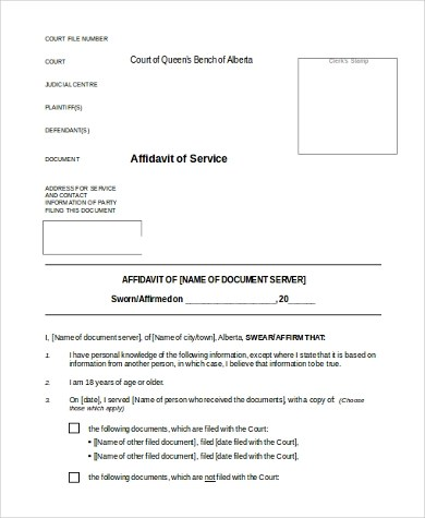 Affidavit of Service Form Samples - 8+ Free Documents in Word, PDF - service form in word