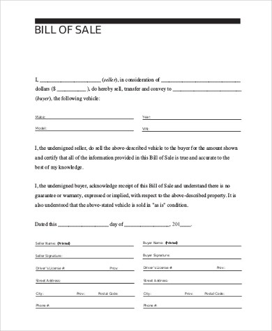 Auto Bill of Sale Form Sample - 9+ Free Documents in PDF - bill of sale generic