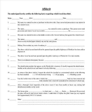 7+ Blank Affidavit Form Samples - Free Sample, Example Format Download - generic affidavit