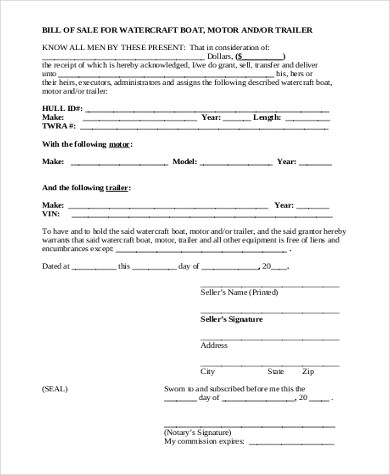 General Bill of Sale Form Sample - 8+ Free Documents in PDF - boat bill of sale template