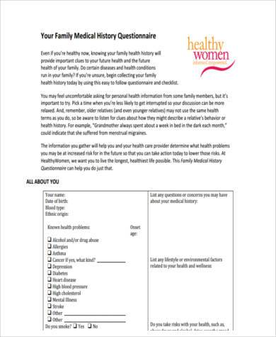 Sample Family Medical History Forms - 7+ Free Documents in Word, PDF - sample medical history form
