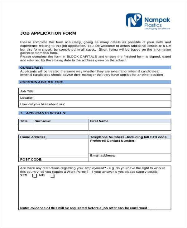 Generic Job Application Employement Application Form Template - generic employment application