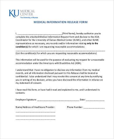 Sample Medical Information Release Forms - 8+ Free Documents in Word