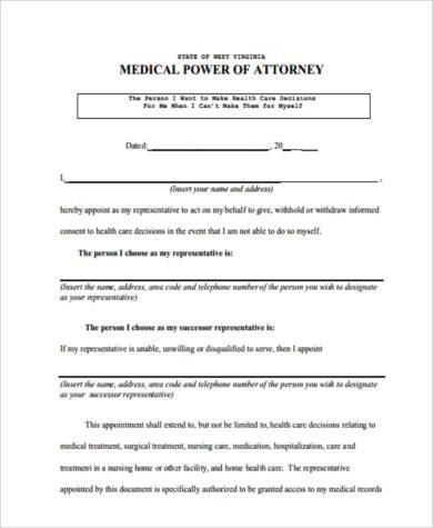 Medical Power of Attorney Form Samples - 8+ Free Documents in PDF - medical power of attorney forms