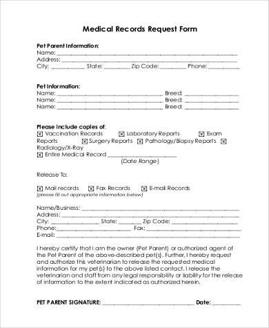 Sample Generic Medical Record Release Form Medical Records Request