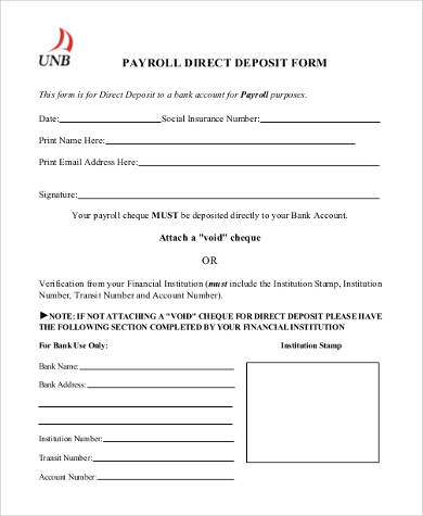 Sample Generic Direct Deposit Forms - 8+ Free Documents in PDF - direct deposit forms