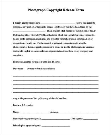 Sample Photo Copyright Release Forms - 8+ Free Documents in Word, PDF - photo copyright release forms