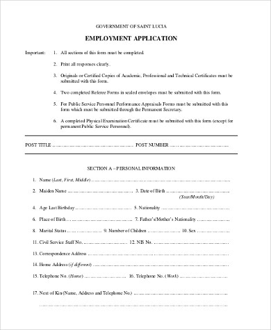 Generic Employment Application Form Samples - 8+ Free Documents in - blank employment verification form