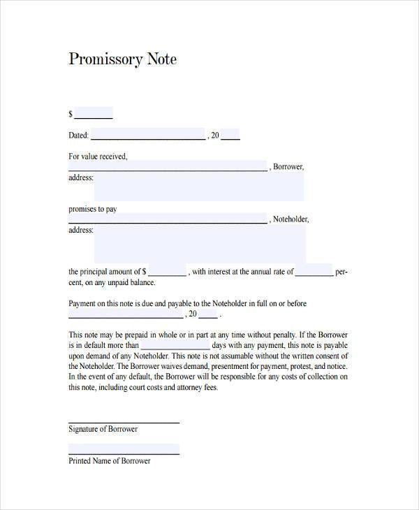 Sample Promissory Note Agreement Forms - 8+ Free Documents in Word - promissory agreement template