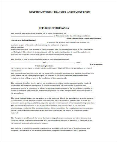 Sample Transfer Agreement Forms - 8+ Free Documents in PDF - transfer agreement