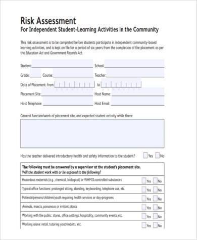 Sample Student Risk Assessment Forms - 9+ Free Documents in Word, PDF