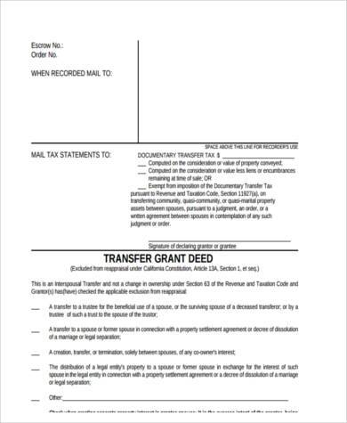 Deed Transfer Sample Forms - 8+ Free Documents in Word, PDF