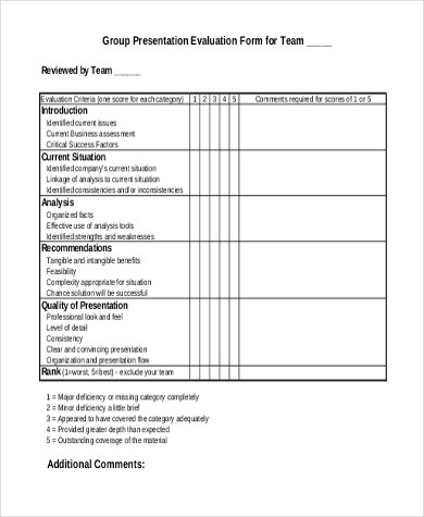 Presentation Evaluation Form Sample - 8+ Free Documents in Word, PDF