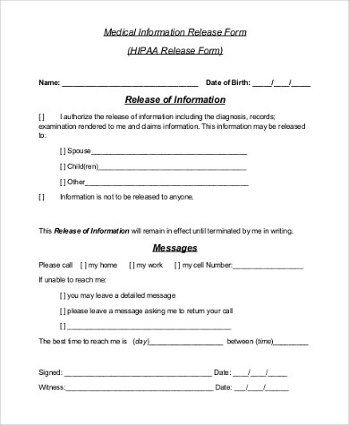 Release Of Information Form Consent To Release Information Form - medical information release form