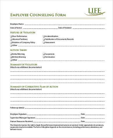 employee counseling forms - Onwebioinnovate
