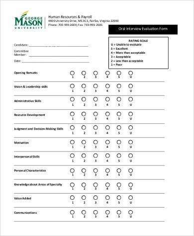 Sample HR Evaluation Form - 6+ Free Documents in Word, PDF - interview evaluation form