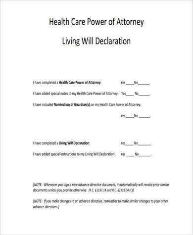 Sample Advance Directive Form Sample Free Living Will Form Free