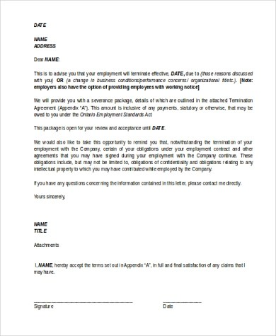 Termination Letter Sample - 7+ Free Documents in Word, PDF - termination letters