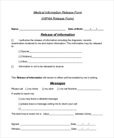 Medical Release Form Samples - 9+ Free Documents in Word, PDF - printable medical release form for children