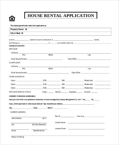 Sample House Rental Application - 8+ Free Documents in Word, PDF - rental application pdf