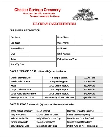 samples of order forms - Josemulinohouse - cake order forms