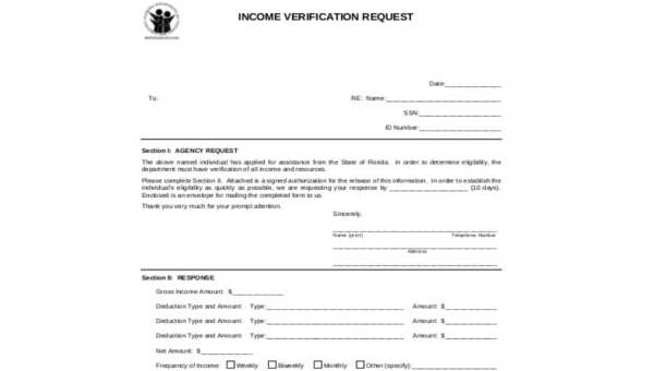 Income Verification Form Samples - 9+ Free Documents in PDF