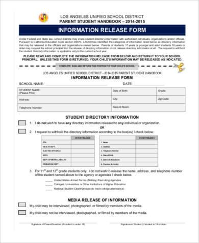 information release form template