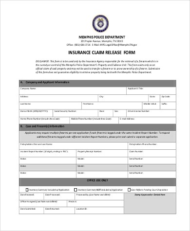 Insurance Claim Form Samples - 9+ Free Documents in PDF