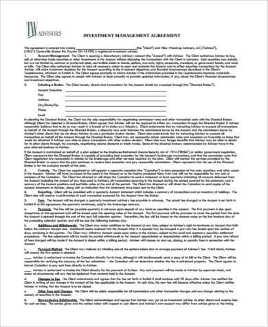 Sample Investment Agreement Forms - 8+ Free Documents in PDF - investment management agreement