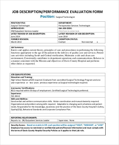 Job Performance Evaluation Form Samples - 9+ Free Documents in Word, PDF - work performance evaluation