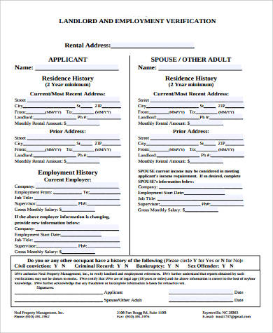 Landlord Verification Form Samples - 9+ Free Documents in Word, PDF