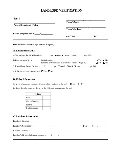 Sample Landlord Verification Form - 7+ Free Documents in Word, PDF