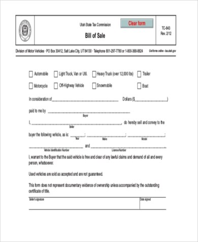 Bill of Sale Form Sample - 11+ Free Documents in Word, PDF - bill of sale for land