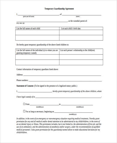 Sample Legal Guardianship Forms - 9+ Free Documents in Word, PDF - temporary custody form