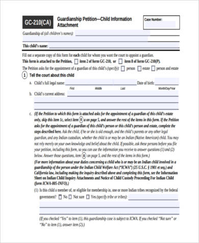 Sample Legal Guardianship Forms - 9+ Free Documents in Word, PDF