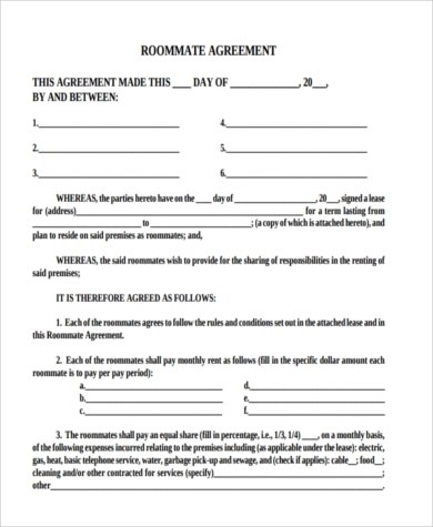 Sample Roommate Contract - 7+ Free Documents in PDF - roommate agreement
