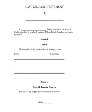 Sample Legal Will Forms - 7+ Free Documents in Word, PDF